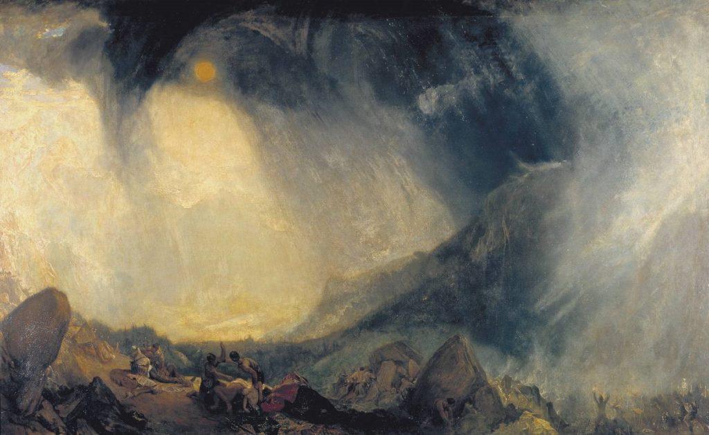 Joseph Mallord William Turner, Tempête de neige – Hannibal traversant les Alpes, 1810, huile sur toile, 146 x 237,5 cm, Londres, Tate Britain.