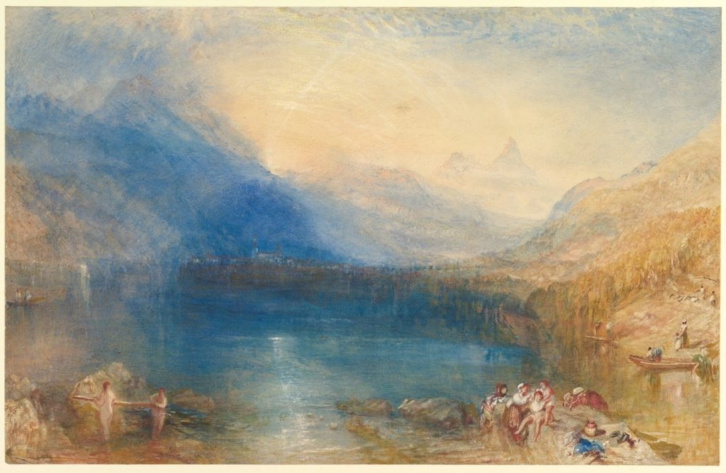 Joseph Mallord William Turner, Le lac de Zug, 1841, aquarelle, 29,8 x 46,6 cm, New York, Metropolitan Museum of Art.