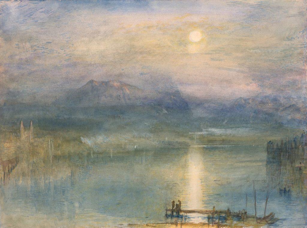 Joseph Mallord William Turner, Le lac de Lucerne au clair de lune avec le Rigi, 1841, aquarelle, gouache et grattages sur papier, 23 x 31 cm, The Whitworth Art Gallery, Manchester.