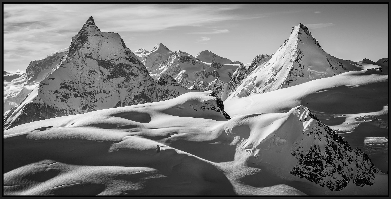 Photo montagne noir et blanc - photo montagne grand format - photo montagnes zermatt - panorama alpes suisses